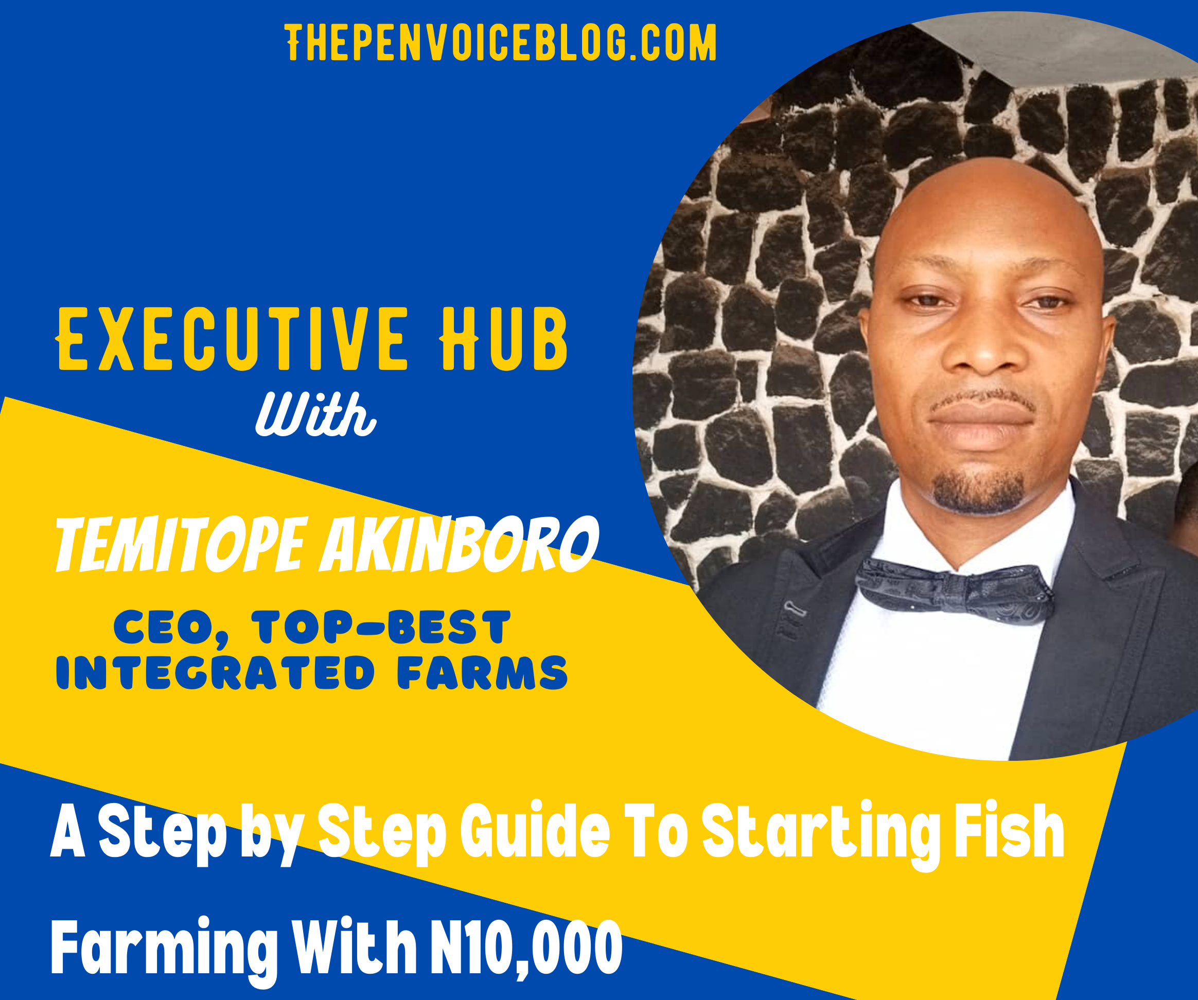 Executive Hub: A Step by Step Guide To Starting Fish Farming With N10,000 – CEO, Top-Best Integrated Farms, Temitope Akinboro